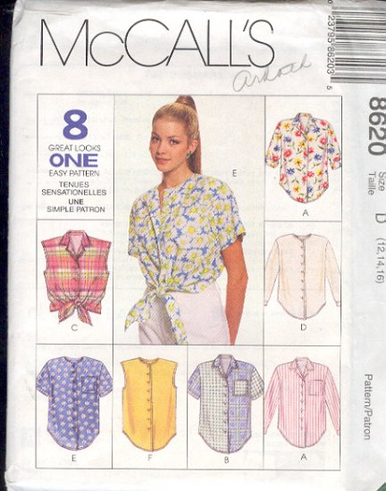 McCalls Sewing Patterns 8620 Blouse, eight variations, Size 12 14 16
