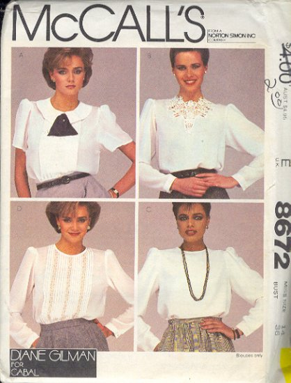 McCall's Sewing Pattern 8672 Four Beautiful Blouses Size 14