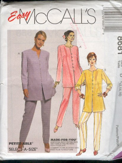 McCall's Sewing Pattern 8681 Dressy  Pant Suit, pull on pants, Size 12 14 16