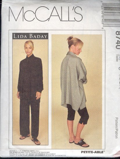 McCall's Sewing Pattern 8740 by Lida Baday, Big Shirt, 10-14 Pull on Pant, Leggings for knits
