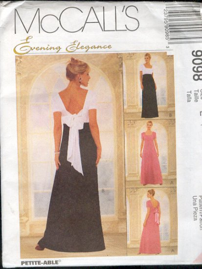 McCall's Sewing Pattern 9098 Formal Gown, Elegant, Size 14 16 18