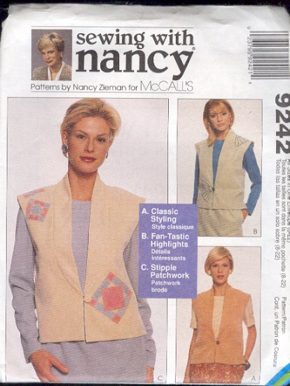 McCall's Sewing Pattern 9242 by Nancy Zieman, Lined Vests, Three Versions, detailed, Sizes 8 - 22