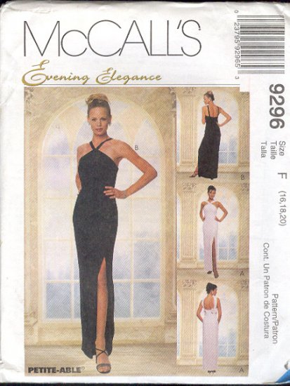 McCall's Sewing Pattern 9296 Elegant Formal, Prom Dress, Size 16 18 20