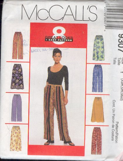 McCall's Sewing Pattern 9307 Pants and Skirt (Pull on)  Size 4 - 14