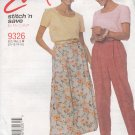 McCalls Sewing Pattern 9326 Pull On Pants and Skirt, Size 10 - 16