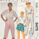McCall's Sewing Pattern 9475 Pants, Shorts and Kneepants, Size 18 20
