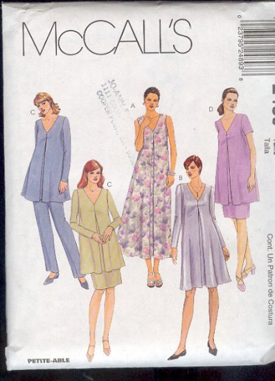 McCall's Sewing Pattern 2489 Maternity Ensemble - dress, top, pull on pants and skirt, Size 10 12 14
