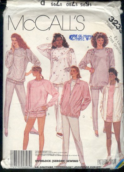 McCall's Sewing Pattern 3233 Pants, Shorts, Unlined Jacket, Top for stretch knits  Size 18 20