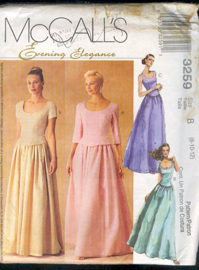 McCall's Sewing Pattern 3259 Elegant Two Piece Formal, Size 8 10 12