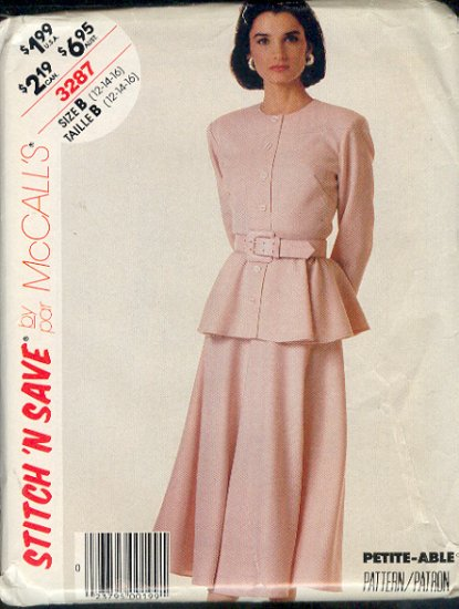 McCall's Sewing Pattern 3287 Beautiful flaired two piece suit.  Size 12- 14 - 16