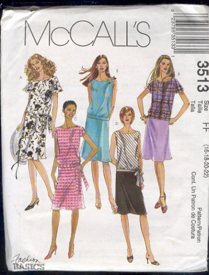 McCall's Sewing Pattern 3513 Two Piece Dress with Five variations, Size 16 - 22