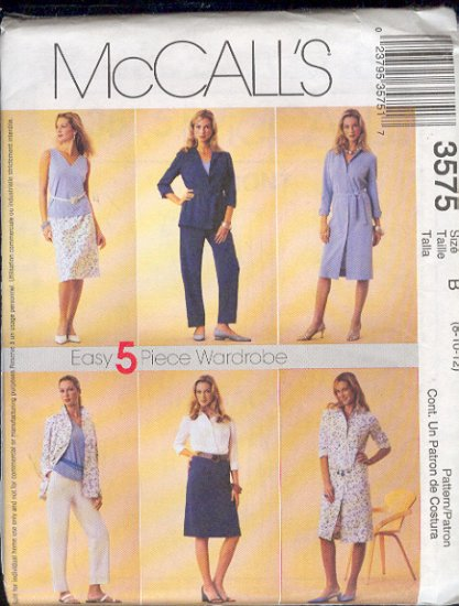 McCall's Sewing Pattern 3575 Petite dress, shirt, top, pants, skirt and tie belt.  Size 8 10 12