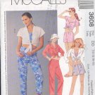 McCall's Sewing Pattern 3608 Shorts, Pants, Mid driff top, Size 12 - 18