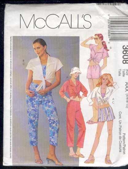 McCall's Sewing Pattern 3608 Pant, Shorts and midriff top Size 4  - 10