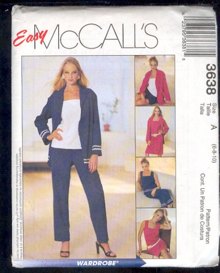 McCall's Sewing Pattern 3638 Petite Dress, Jacket, Top, Shorts Size 6 8 10