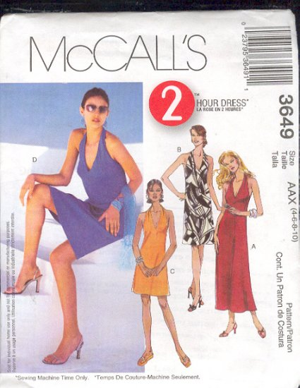 McCall's Sewing Pattern 3649 Petite Summer Dress, four lengths, Size 4 - 10