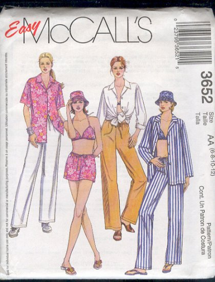 McCall's Sewing Pattern 3652 Shirt, Benini Top, Drawstring pant or short and hat, Size 6 - 12