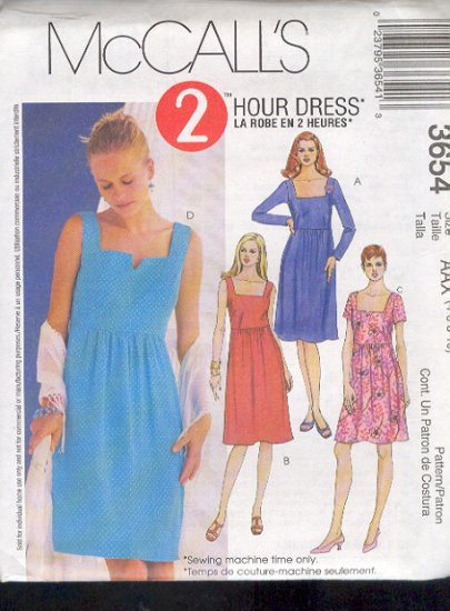 McCall's Sewing Pattern 3654 Dress with variations, Size 12 - 18