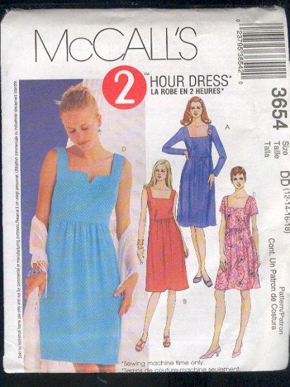 McCall's Sewing Pattern 3654 Dress, Empire waist, Size 4 - 10