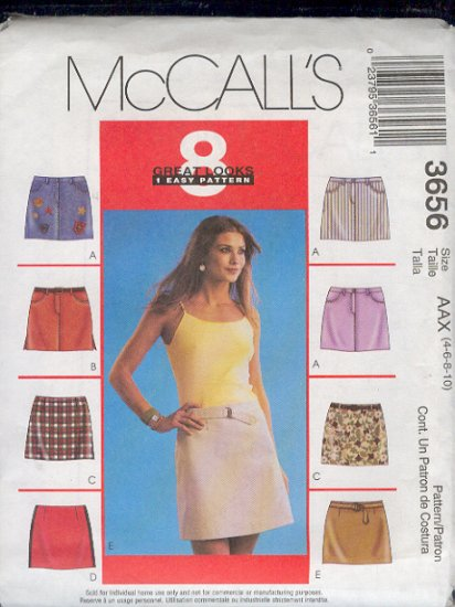 McCall's Sewing Pattern 3656  Skirt with eight variations, size 4 - 10