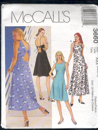 McCall's Sewing Pattern 3660 Pretty Sundress with back detail.  Size 4 - 10