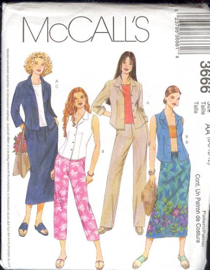McCall's Sewing Pattern 3666 Shirt, Capri, Skirt and Pants, Size 14 - 20