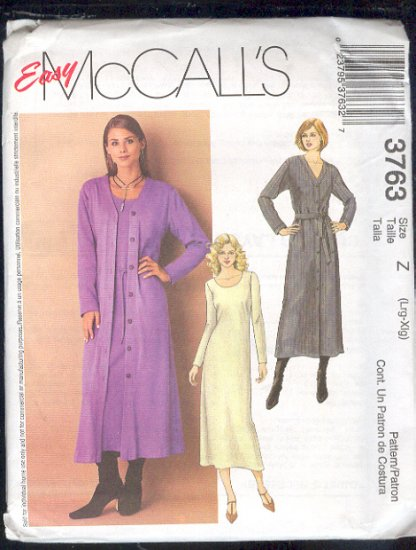 McCall's Sewing Pattern 3763 Dress and Long Cardigan, Size 16  - 22