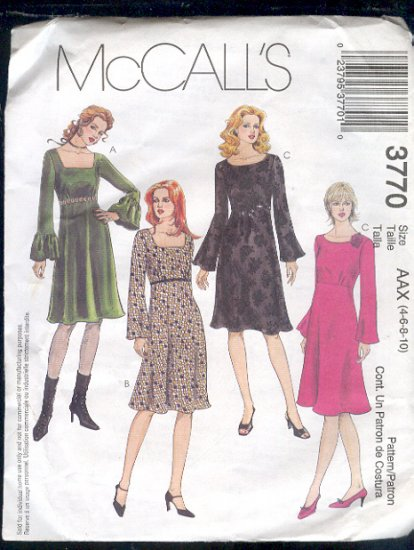 McCall's Sewing Pattern 3770 Princess/Empire dressy dress, Size 4 -10