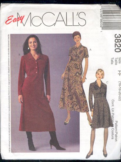McCall's Sewing Pattern 3820 Dress, raised waist,two lengths, Size 16 - 22
