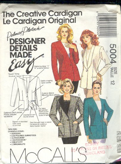 McCall's Sewing Pattern 5004 Blazer Jacket by Palmer Pletsch size 12