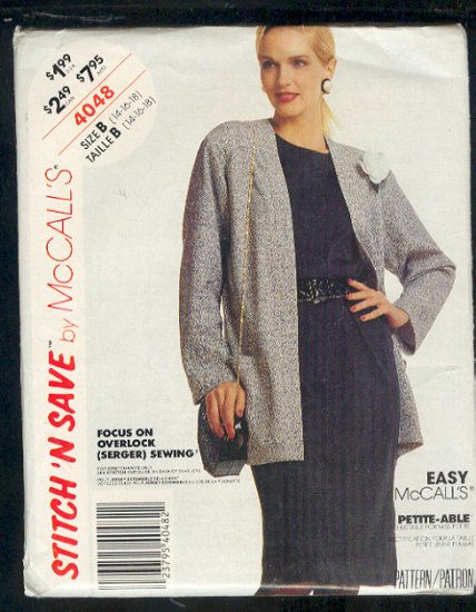 McCall's Sewing Pattern 4048 Jacket and Dress for stretch knits only Size 14 - 18