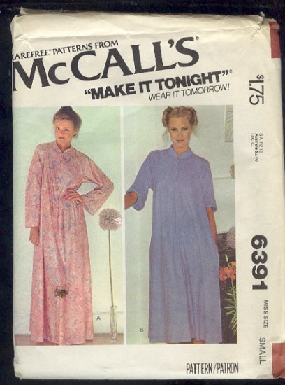 McCall's Sewing Pattern 6391 Robe, Housecoat, Duster, Size 10 12