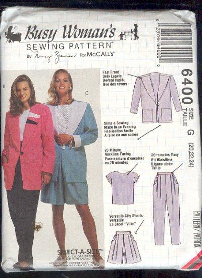 McCall's Sewing Pattern 6400 by Nancy Zeiman, Jacket, Top, Pants, Shorts, Size 20 - 24