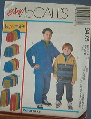 McCall's Sewing Pattern 9475 Boys Polar Fleece tops and pants, Size 14 16