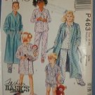 McCall's Sewing Pattern P463 Child pajamas, shorties, shirt and robe, Size 8 10