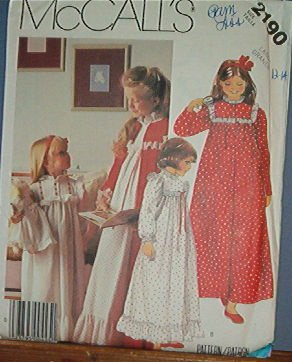 McCall's Sewing Pattern 2190 Night gown and robe, Size 12 14