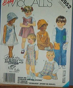 McCall's Sewing Pattern 2952  Jumper, sundress, overalls, shirt, hat and toys Size 2