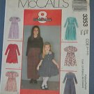 McCall's Sewing Pattern 3353 Girl's Dress, Six options, Size 7 8 10