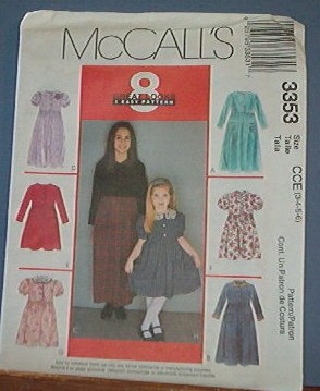 McCall's Sewing Pattern 3353 Girl's Dress, Six options, Size 7 8 10