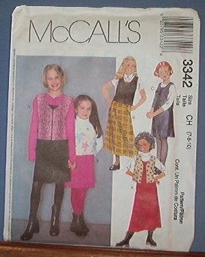 McCall's Sewing Pattern 3342 Jumper and Unlined Vest, Size 7 8 10