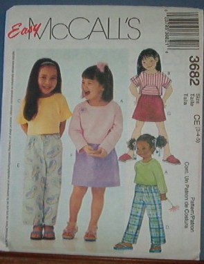 McCall's Sewing Pattern, Pant, Tops and skirt for children, Size 3 4 5