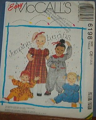 McCall's Sewing Pattern 6198 Toddler Dress, Top and Jumpsuit, Size 1 2 3