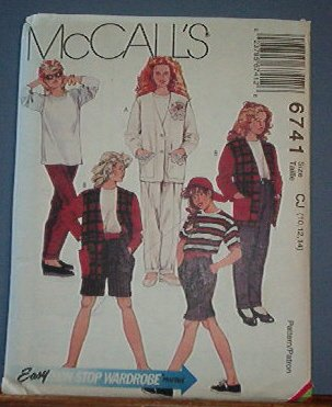 McCall's Sewing Pattern 6741 T Shirt (knit only)  Jacket, horts and Pants Size 10 12 14
