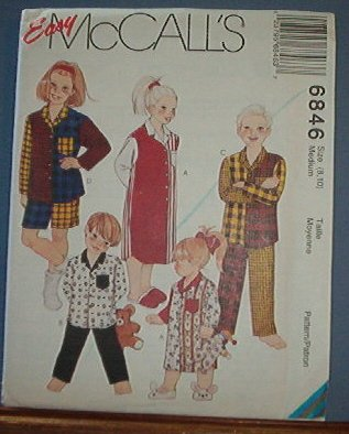 McCall's  Sewing Pattern 6846 Child's Pajamas, night gown, Size 8 10