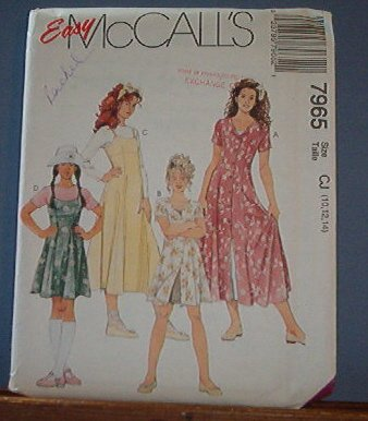 McCall's Sewing Pattern 7965 Two Dress styles with under slip, size 10 12 14