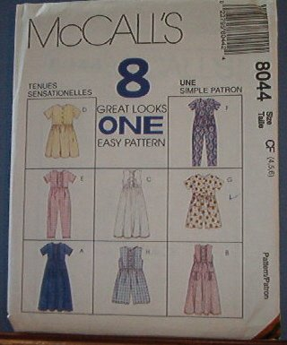 McCall;s Sewing Pattern 8044, Dress and Jumpsuit, each with 4 variations, Size 4 5 6