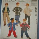 McCall's Sewing  Pattern 8369 Boy's T Shirt, Shirt, Pull On Pants, Size 7 8 10