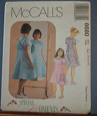 McCall's Sewing Pattern 8680 Special Occasion Dress, Sash and purse, Size 10 12 14