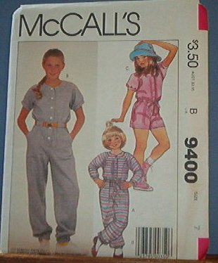 McCall's Sewing Pattern 9400 Girl's Jumpsuit in two lengths, size 7