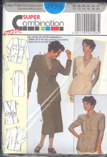 Burda Sewing Pattern 4128 Belted Jacket, Belted sleeless top, Blouse and Skirt, size 10 - 20